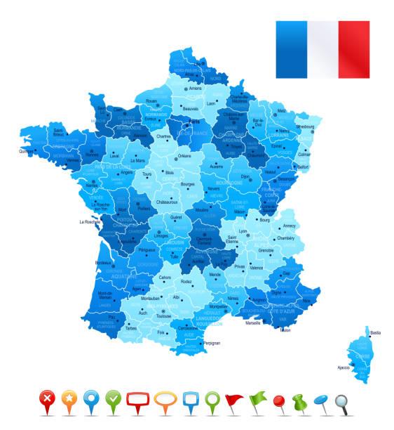 France, vue de près et très détaillées carte - Illustration vectorielle