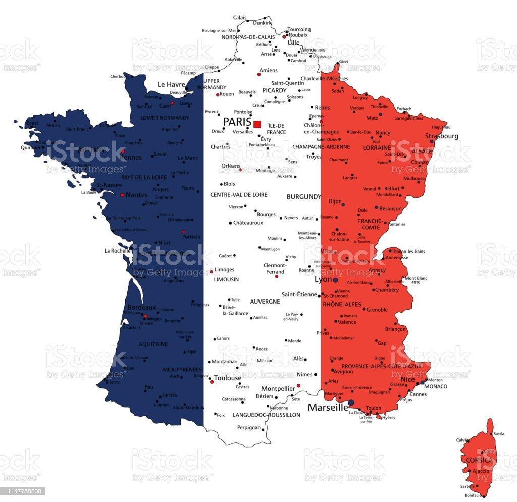 France Highly Detailed Political Map With National Flag Stock Illustration on alsace france, detailed map france, mountains in france, world map france, toulon france, beaune france, rivers in france, etretat france, tours france, orleans france, versailles france, avignon france, countries in france, cities in france, dordogne france, le mans france, biarritz france, how big is france, le havre france, languedoc france,
