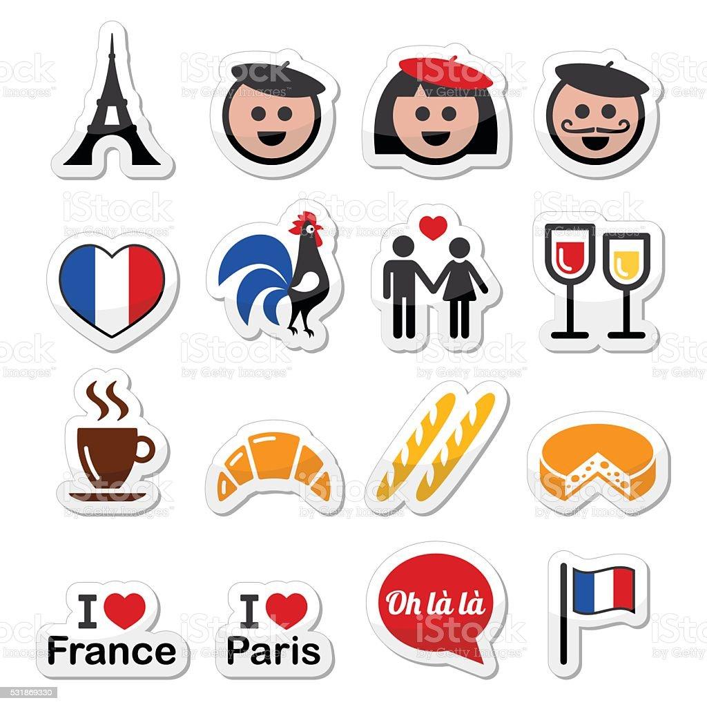France, I love Paris vector icons set vector art illustration
