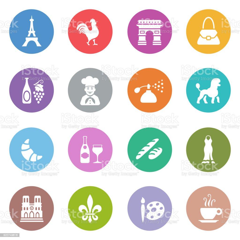 France Icon Set vector art illustration