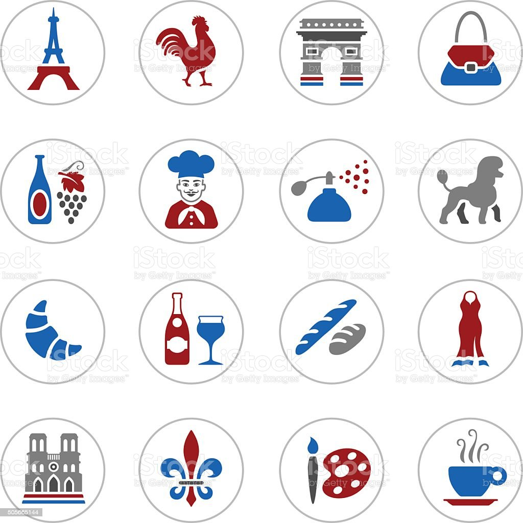 France Icons vector art illustration