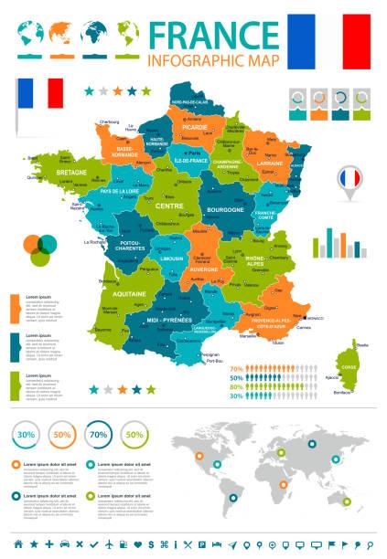 Illustration de France - carte infographique et drapeau- - Illustration vectorielle