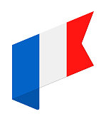 France - Isometric Label Flag Vector Flat Icon