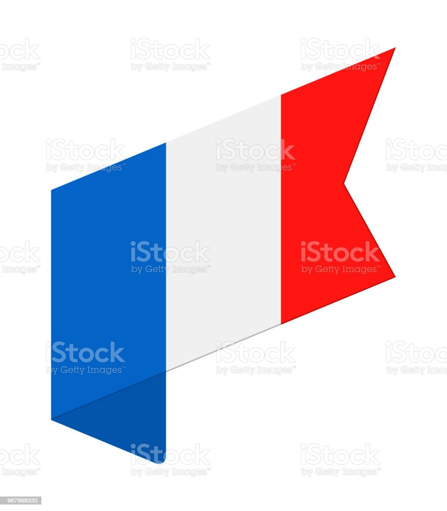 France - Isometric Label Flag Vector Flat Icon vector art illustration