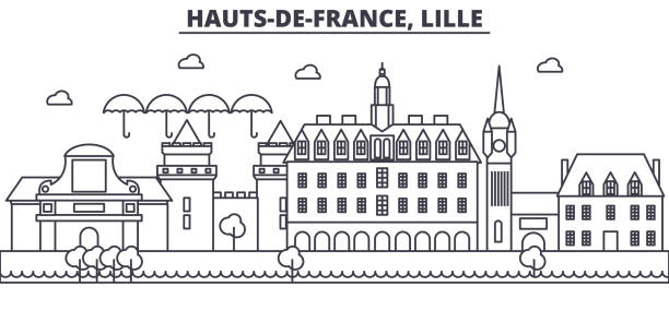 france, lille architecture line skyline illustration. linear vector cityscape with famous landmarks, city sights, design icons. landscape wtih editable strokes - колокольня stock illustrations