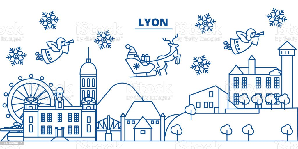 france lyon winter city skyline merry christmas happy new year decorated banner with