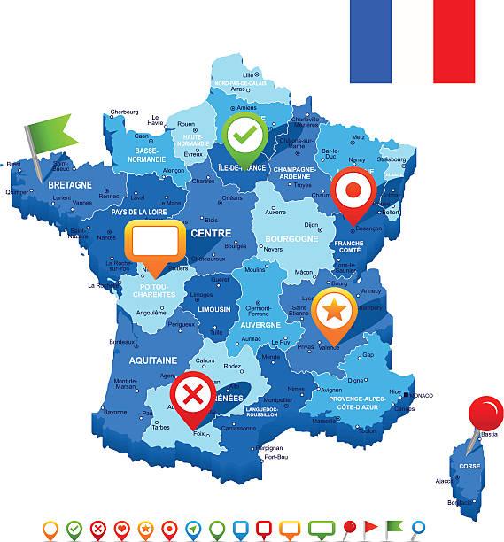 France Carte 3D, drapeau et navigation icônes-illustration - Illustration vectorielle