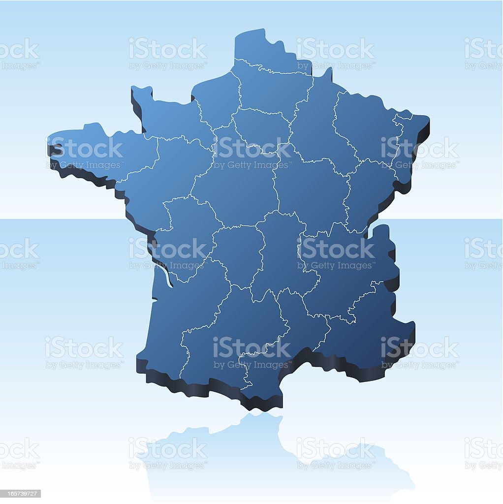 France Map 3D royalty-free stock vector art
