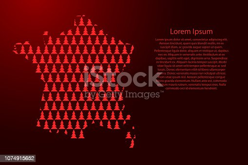 istock France map abstract schematic from red Christmas tree and Happy New Year decoration pattern for banner, poster, greeting card. Vector illustration. 1074915652