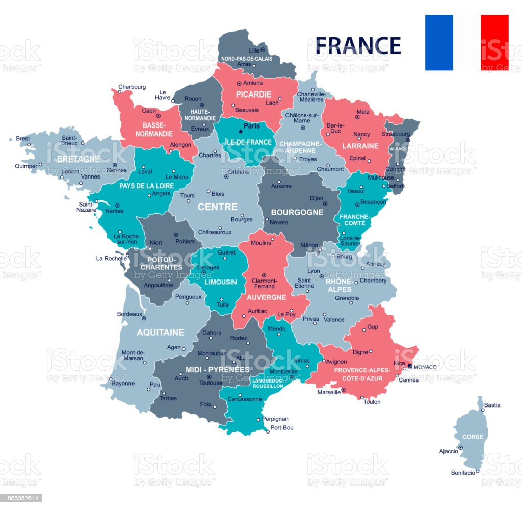 France Map And Flag Illustration Stock Vector Art More Images Of