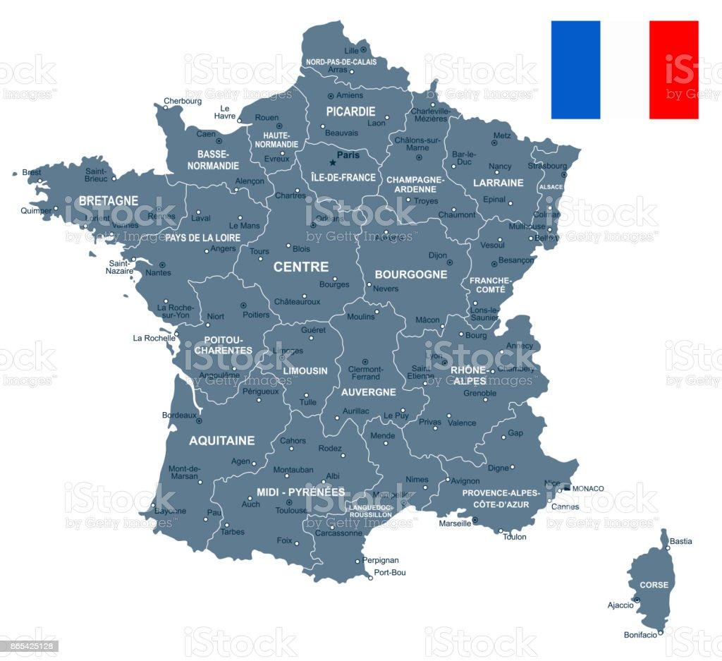 France - Carte et illustration du pavillon - Illustration vectorielle