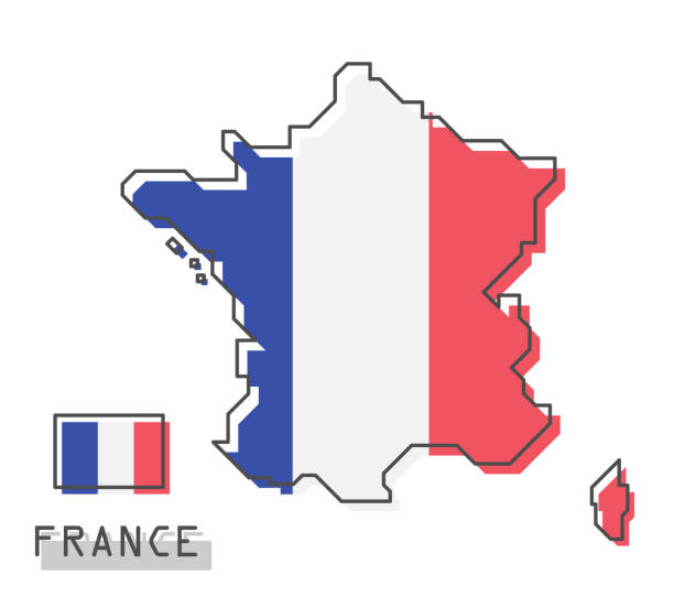 France map and flag . Modern simple line cartoon design . Vector . vector art illustration