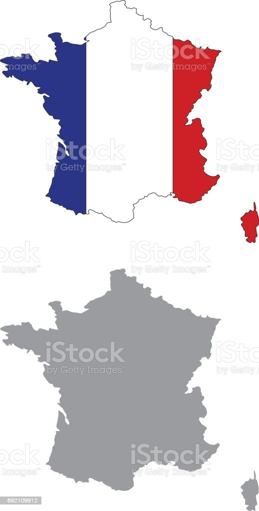 France Map Flag.France Map And Flag Stock Vector Art More Images Of Cartography