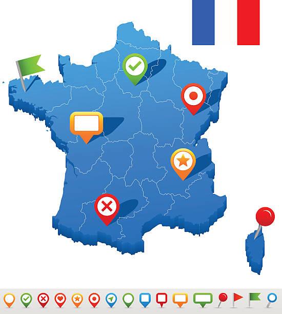 France Carte et navigation icons-Illustration - Illustration vectorielle