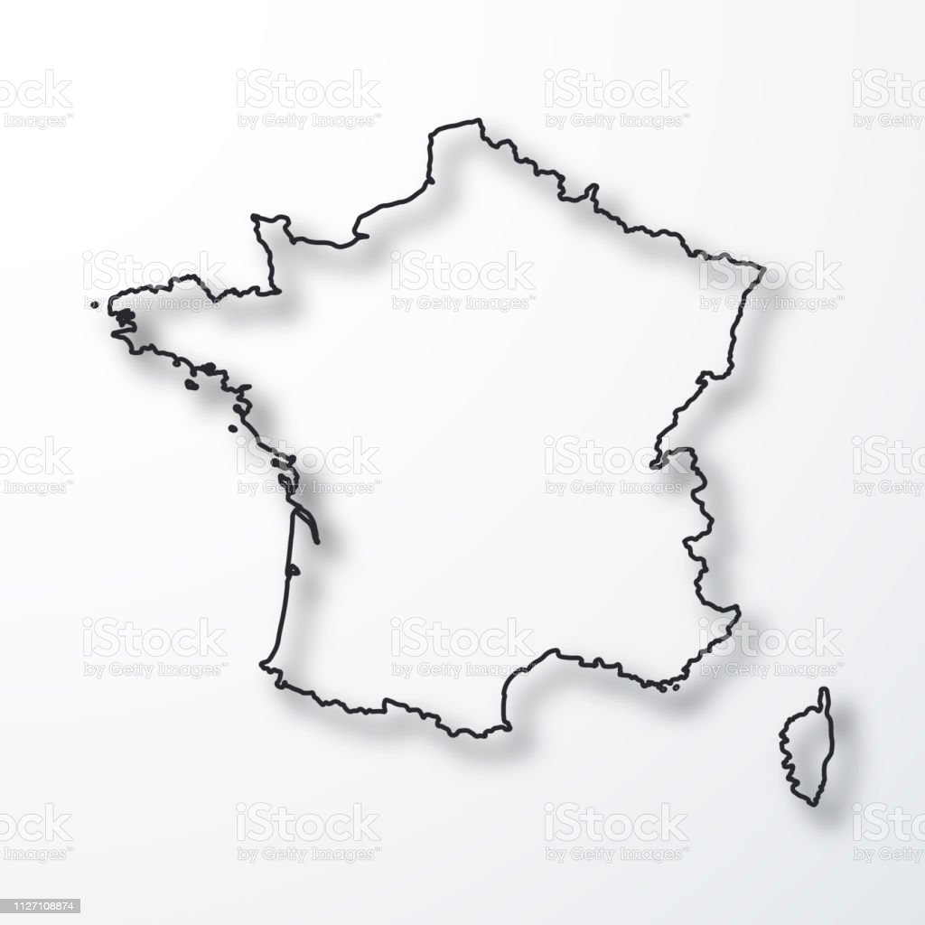 carte france noir et blanc France Map Black Outline With Shadow On White Background Stock