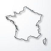 Map of France created with a thin black outline and a shadow, isolated on a blank background. Vector Illustration (EPS10, well layered and grouped). Easy to edit, manipulate, resize or colorize. Please do not hesitate to contact me if you have any questions, or need to customise the illustration. http://www.istockphoto.com/portfolio/bgblue