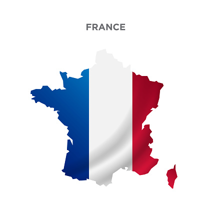 France map concept design. Map concept for advertising, banners, leaflets and flyers. Colored map. Vector illustration.