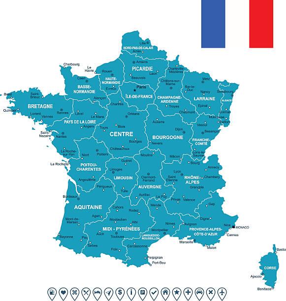 France Carte, le drapeau et navigation étiquettes-illustration - Illustration vectorielle
