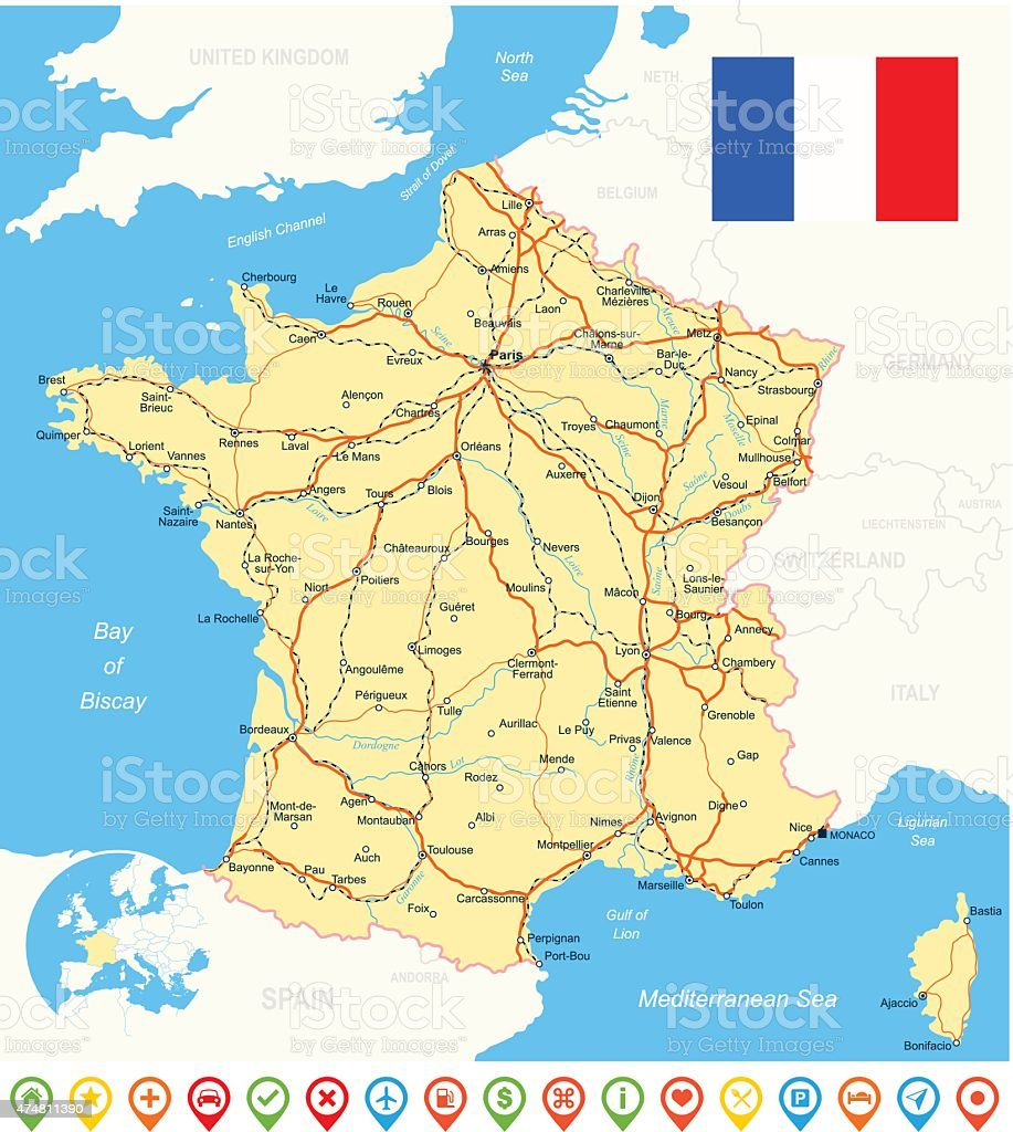 France Map Flag Navigation Icons Roads Rivers Illustration Stock