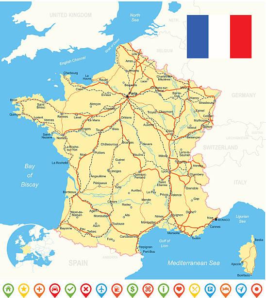 France, drapeau, carte et navigation icons, les routes et les rivières-illustration - Illustration vectorielle