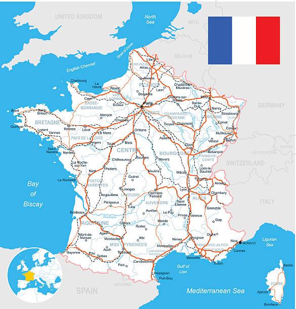 France Carte, le drapeau, route-illustration - Illustration vectorielle