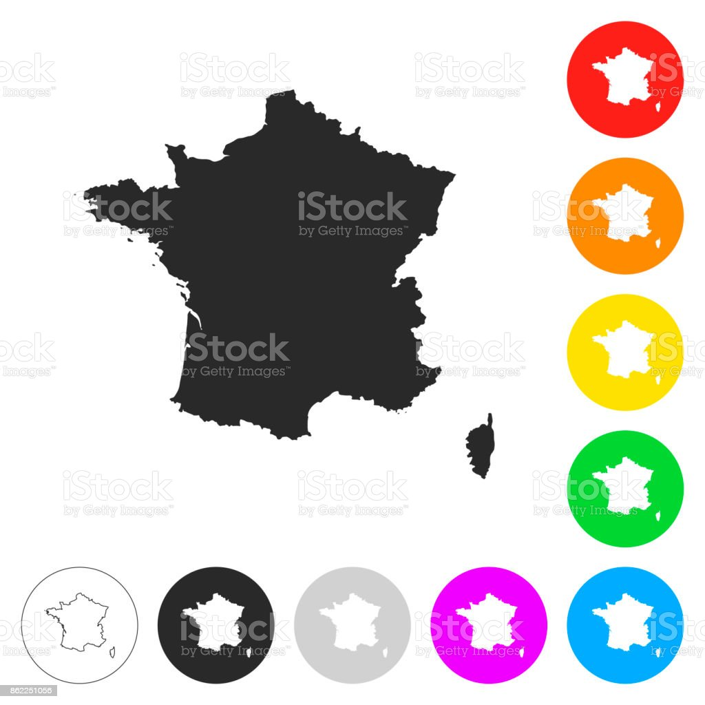 Map Of France Paris.France Map Flat Icons On Different Color Buttons Stock Vector Art