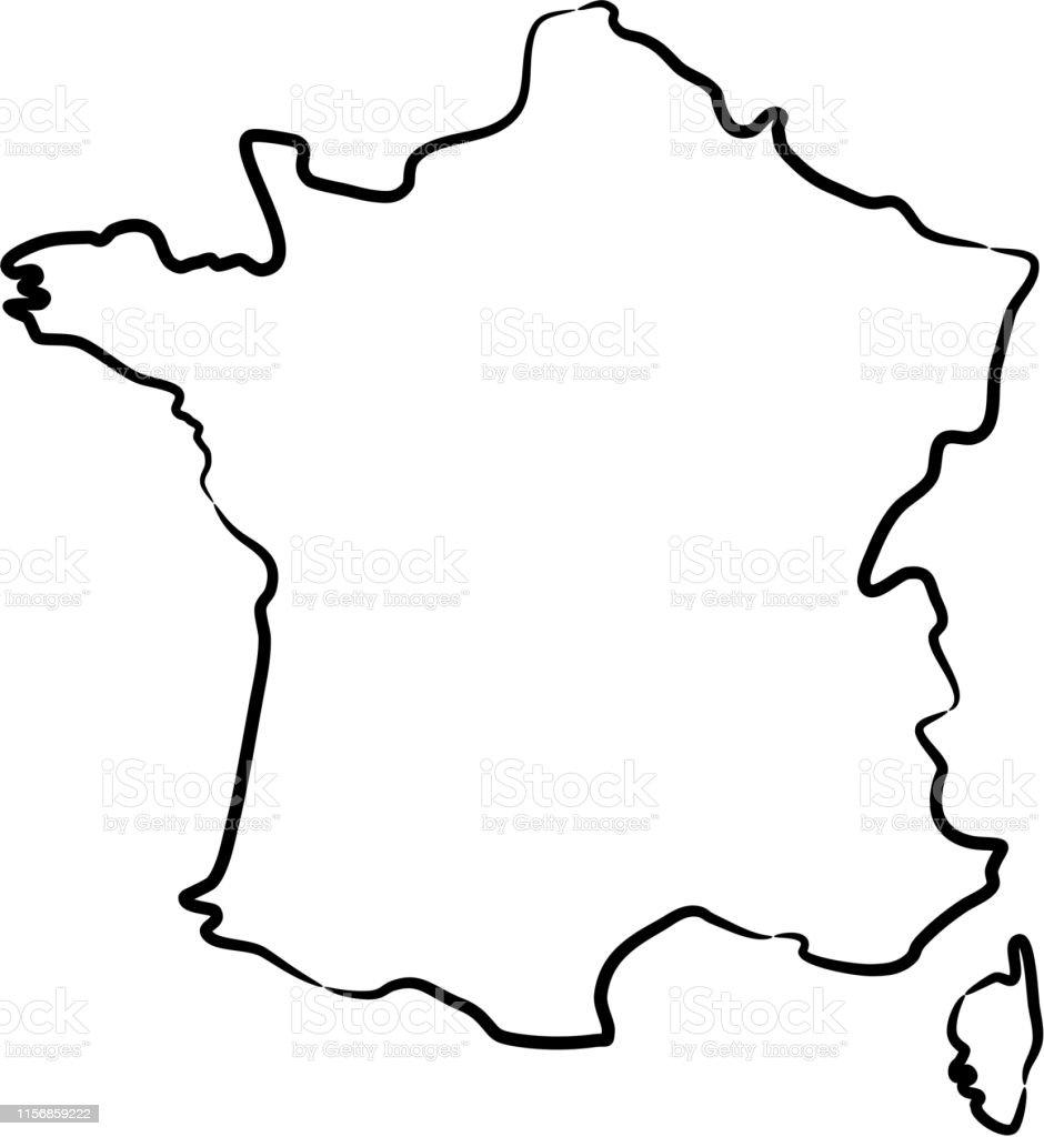 contour carte de france France Map From The Contour Black Brush Lines On White Background
