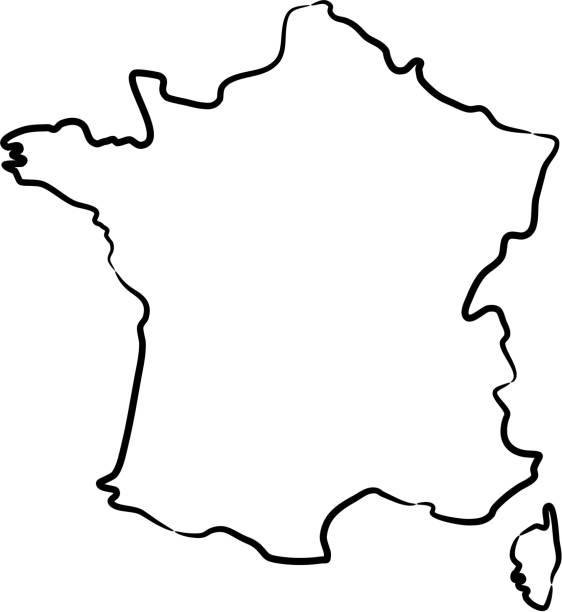 illustrations, cliparts, dessins animés et icônes de carte de france du contour des lignes noires de brosse sur le fond blanc. illustration de vecteur. - france