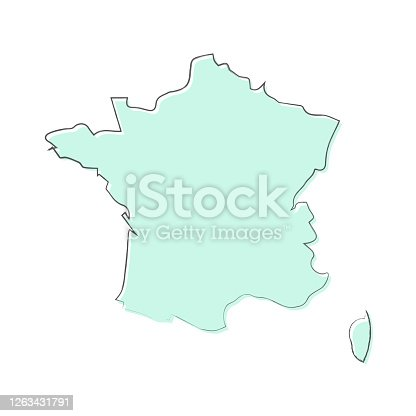 Map of France sketched and isolated on a blank background. The map is blue green with a black outline. Vector Illustration (EPS10, well layered and grouped). Easy to edit, manipulate, resize or colorize.