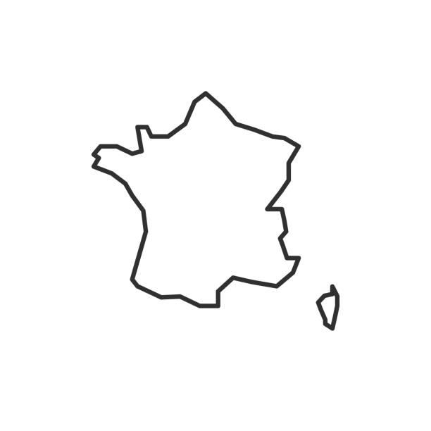 ikona mapy francja izolowana na białym tle. mapa konspektu francji. prosta ikona linii. ilustracja wektorowa - francja stock illustrations