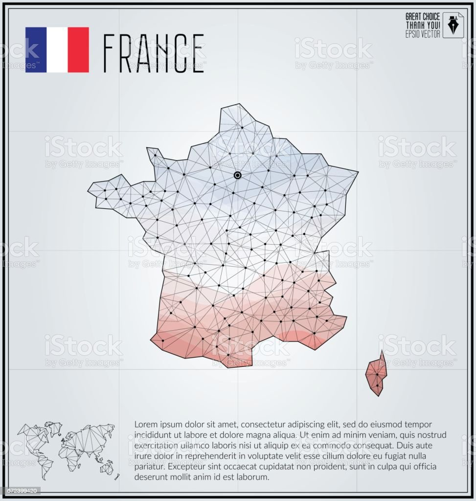 France Map In Geometric Polygonal Style Polygonal Abstract World Map ...