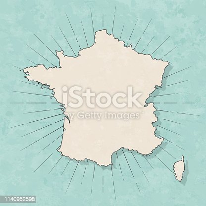 Map of France in a trendy vintage style. Beautiful retro illustration with old textured paper and light rays in the background (colors used: blue, green, beige and black for the outline). Vector Illustration (EPS10, well layered and grouped). Easy to edit, manipulate, resize or colorize.