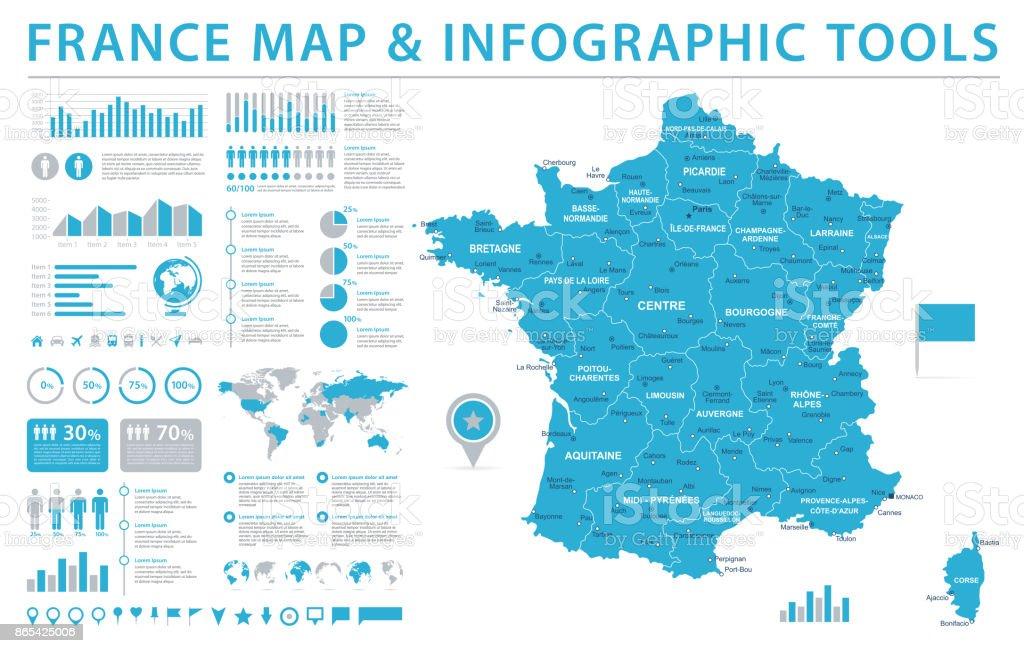 Carte de France - Info vecteur graphique Illustration - Illustration vectorielle