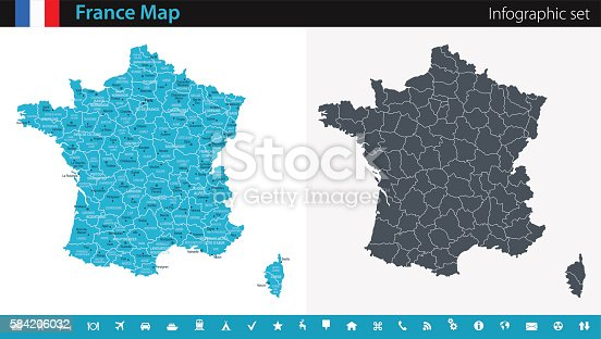 Vector maps of the France with variable specification and icons  The urls of the reference files are (country, continent, world map and globe):  http://www.lib.utexas.edu/maps/europe/france_admin91.jpg http://www.lib.utexas.edu/maps/world_maps/time_zones_ref_2011.pdf    - The illustration was completed April 23, 2016 and created in Corel Draw  - 1 layer of data used for the detailed outline of the land