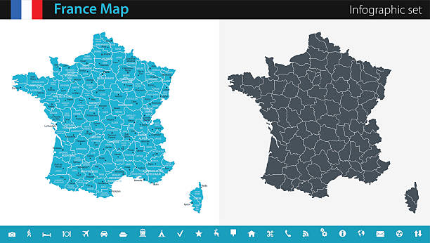 illustrations, cliparts, dessins animés et icônes de france map - infographic set - carte de france