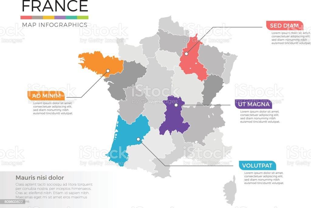 Frankreich Karte Regionen.Frankreich Karte Infografiken Vektor Vorlage Mit Zeiger Marken Und