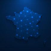istock France map network - Bright mesh on dark blue background 1238053983
