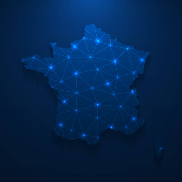 France map network - Bright mesh on dark blue background vector art illustration