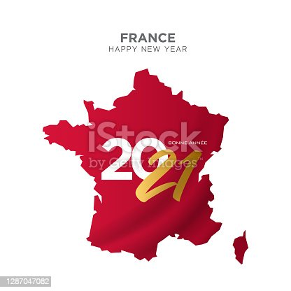 istock France map new year concept design. Bonne Annee. 2021 New Year concept for advertising, banners, leaflets and flyers. Vector illustration. 1287047082