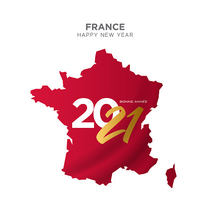 France map new year concept design. Bonne Annee. 2021 New Year concept for advertising, banners, leaflets and flyers. Vector illustration.