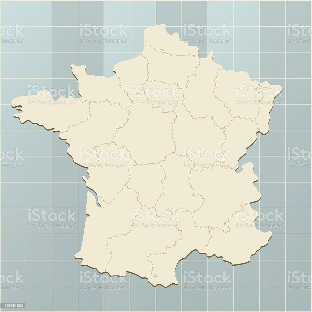 France Carte sur la grille - Illustration vectorielle