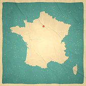 Map of France with a retro style, a vintage effect on an old textured paper.
