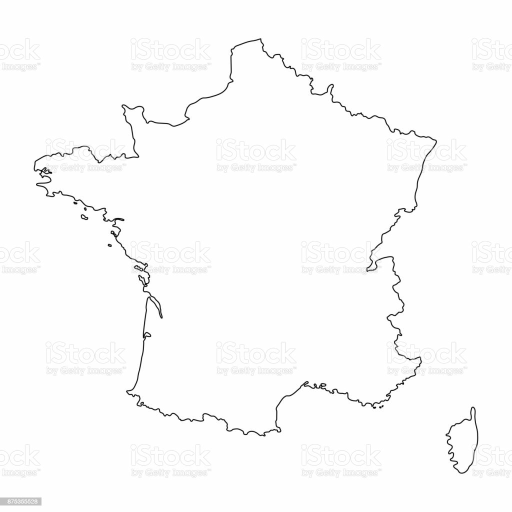 Map Of France Drawing.France Map Outline Graphic Freehand Drawing On White Background