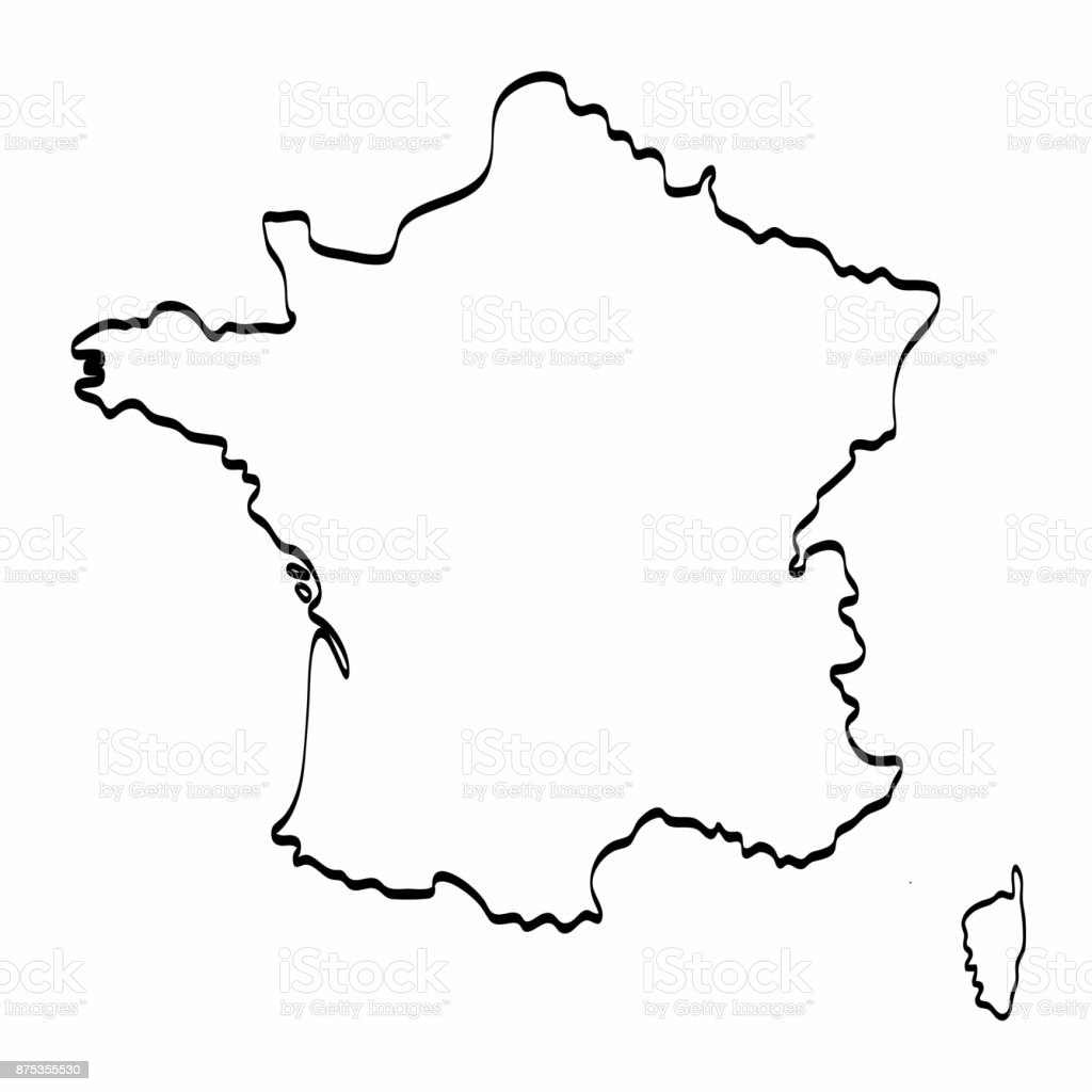 Map Of France Drawing.France Map Outline Graphic Freehand Drawing On White