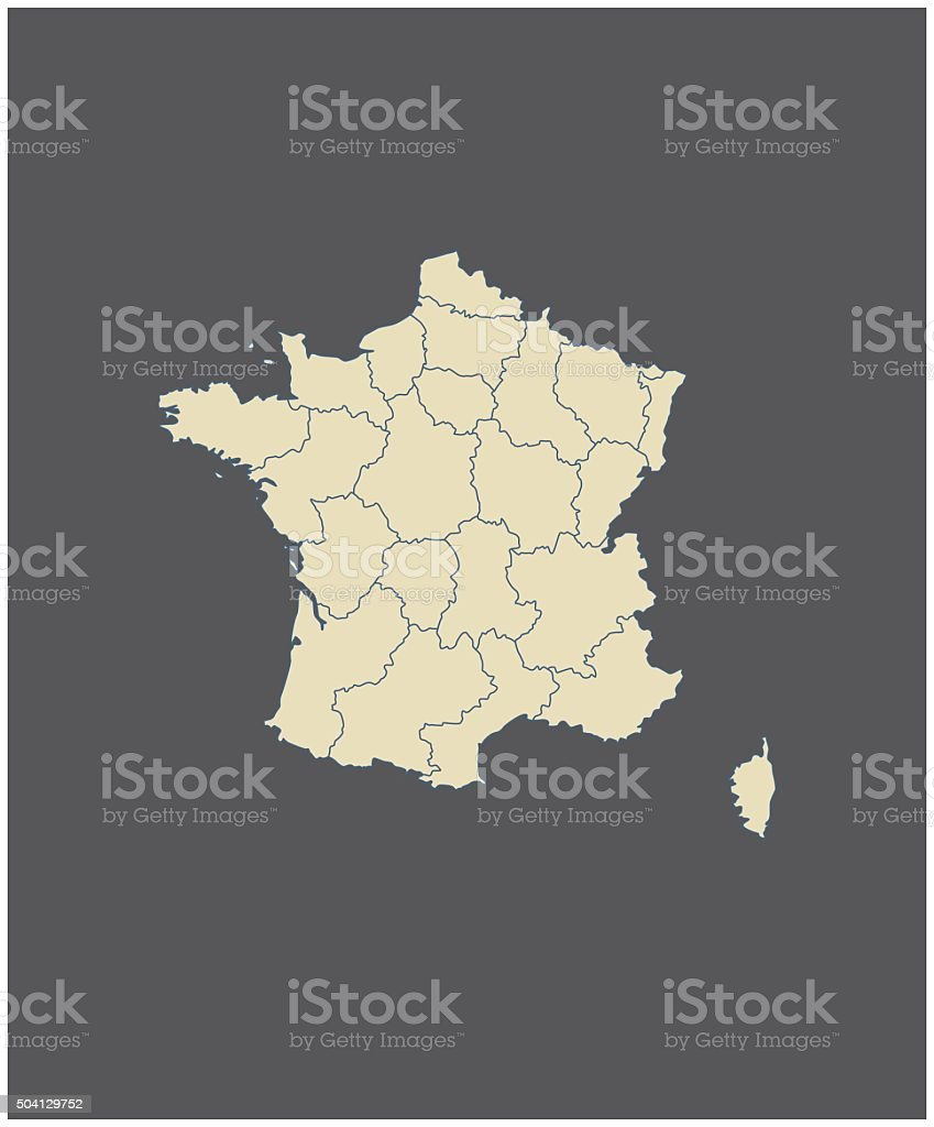 France Map Outline Vector In Gray Background Stock Vector Art More