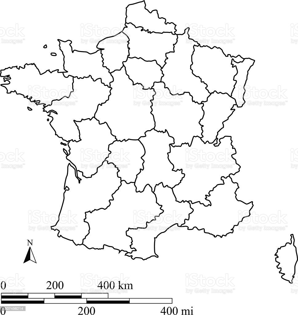 France Map Outline Vector With Scales In A Blank Design Stock - France map images blank