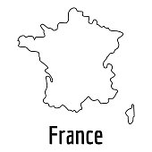 France map thin line. Simple illustration of France map vector isolated on white background