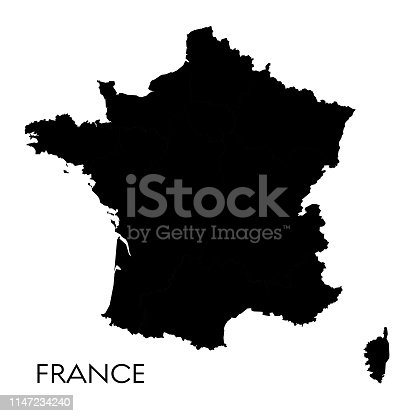 Vector illustration of the map of France