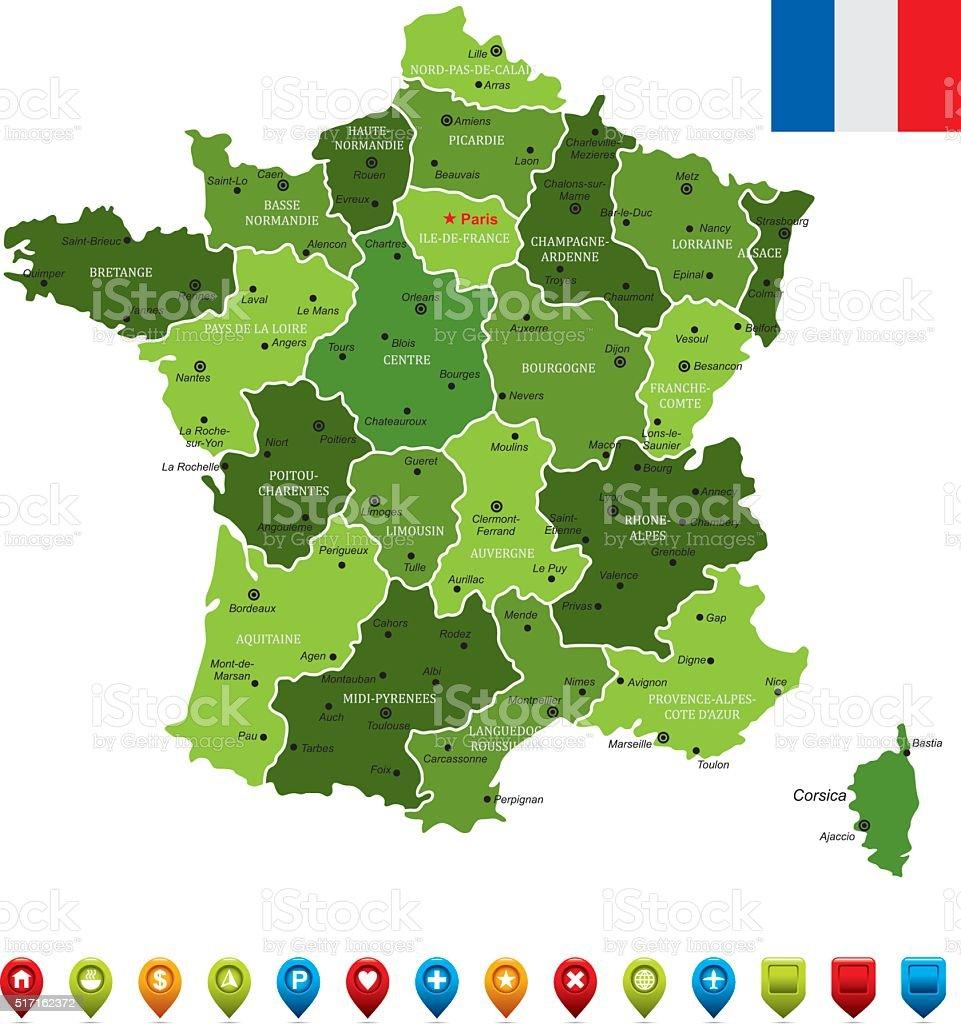 Elsass Karte Frankreich.Karte Von Frankreich Stock Vektor Art Und Mehr Bilder Von