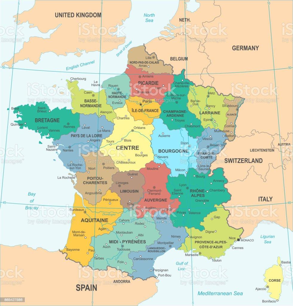 Frankreich Karte Vektorillustration Stock Vektor Art und mehr Bilder ...